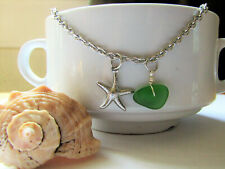 Green SEA GLASS Silver Starfish Necklace