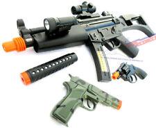2x Toy Guns Military HUGE Elec. MP5  w/ Silencer & Camo Pistol 9MM Toy Gun Set