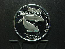 1998 Ocean Giants - Canada Silver 50 Cent Coin - Beluga Whale