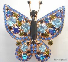 Vintage BLUE rhinestone BUTTERFLY PIN brooch STUNNING! PN908