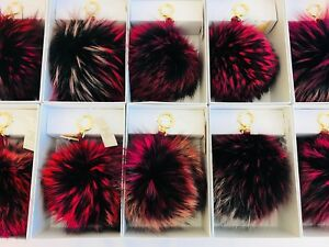 Michael Kors Key Pom Pom Bag Charm Real Fox Fur Large & X-Large Discontinued NWT