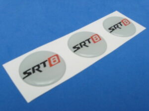 SRT8 SRT-8 #1 LOGO DOMED DECAL EMBLEM STICKER SET OF THREE #204