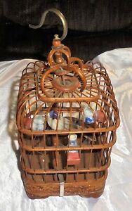 VINTAGE  WICKER & WIRE BIRD CAGE With Feeding Pots
