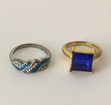 Lot Mixed Metals and Rhinestones Estate Find Junk Drawer Ring 2pc