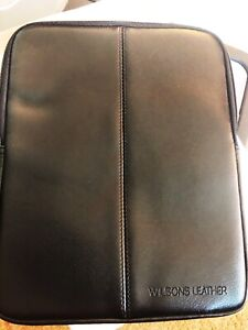 """Wilsons Genuine Leather Padded Protective Sleeve Case for 8"""" Tablet,iPad Etc Blk"""