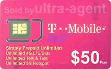 Preloaded T-Mobile SIM Card with Prepaid Plan $50 Unlimited 4G LTE * 30 Days *