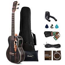 Left Handed - Caramel CT904L Ebony Tenor Acoustic Electric Ukulele Strings Pa...