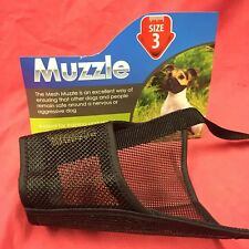 Dog Muzzle Size 3 Black Padded Nylon 20cm Nose German Shepherd Doberman Labrador