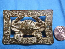 Antique Gold Plated Blue Crab Scarf Shawl or Hat Pin Brooch