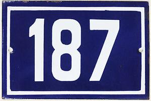 Old blue French house number 187 door gate plate plaque enamel steel metal sign