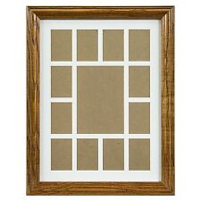 "Craig Frames, 12x16"" Brown Wood Picture Frame, White Collage Mat, 13 Openings"