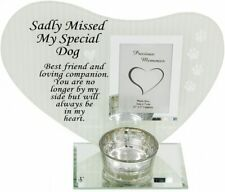 Dog Memorial Plaque Glass Frame With Tealight Holder
