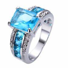 Noble 925 Silver Blue Topaz Gemstone Ring Wedding Bridal Women Jewelry Size 10