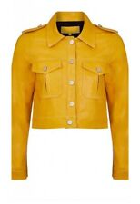 SKIMM LONDON AMELIE CROPPED LEATHER JACKET MUSTARD SIZE 10