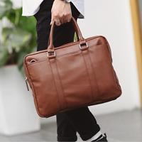 Men's Vintage Leather Business Handbag Briefcase Laptop Shoulder Messenger Bag