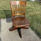 Solid Dark Oak Swivel Office Bankers Rolling Chair Empire Chair Co. Johnson TN