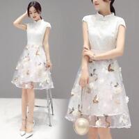 Fashion Women Dress Short-sleeved Cheongsam Summer Korean Slim High Waist Skirts