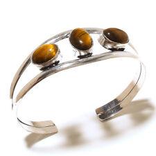 Silver Plated Fashion Jewellery Size7-8 Designer Tiger's EyeGemStone Cuff Bangel