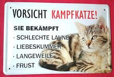 Blechschild 20x30 Vorsicht Kampfkatze lustiger Spruch Tiere Katze Warnschild