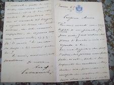 1892 IMOLA: LUNGA LETTERA AUTOGRAFA DEL SENATORE IMOLESE GIOVANNI CODRONCHI