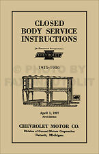 1925-1930 Chevrolet Car Body Service Manual Noises Leaks Windows Mouldings