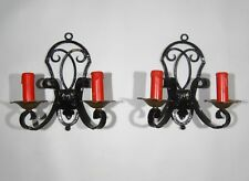 Pair of Vintage French Wrought Iron Sconces, 1920's