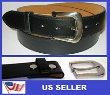 "Snap On Black Leather Belt. Removable Buckle. w/ stitch. 1-1/2"" Width."