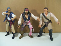 LOT OF 3 DISNEY PIRATES OF THE CARIBBEAN ACTION FIGURES SPARROW GIBBS TURNER