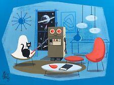 EL GATO GOMEZ RETRO SCI-FI OUTER SPACE ROBOT MID CENTURY MODERN 1950'S  PRINT