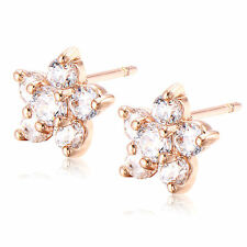 Pretty New Rose Gold Filled Clear Cubic Zirconia CZ Crystal Flower Stud Earrings