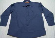 New Mens Industrial Work Shirt Long Sleeve Button Down Medium Blue XL