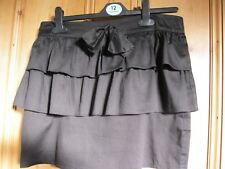LADIES SIZE 12 -NEW LOOK- BLACK RUFFLE PARTY MINI SKIRT FRONT BOW WAIST- GYPSY