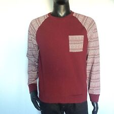 Topman Topshop Mens Long Sleeve Pullover Red Tribal 1 Pocket Sweater Size Large