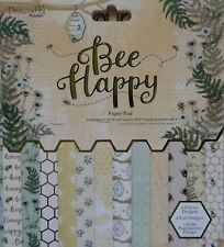 "Dovecraft  8"" x 8"" Scrapbooking paper BEE HAPPY honeycomb florals 12 loose shts"