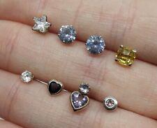 Lot Solid 9ct Gold Stud Earrings Amethyst Garnet Pink Sapphire 1.85g - Not Scrap