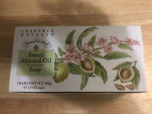 Crabtree & Evelyn SWEET ALMOND OIL Soap Bars W Cold Cream. 3 Bars X 3.5oz. NIB
