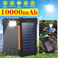 10000mAh Solar Power Bank Efficient Dual USB Port + Compass + Flashlight   ! RF5