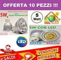 10 PZ. FARO FARETTO LED 5W SPOTLIGHT COB INCASSO LAMPADINA SMD LUCE CALDA SPOT