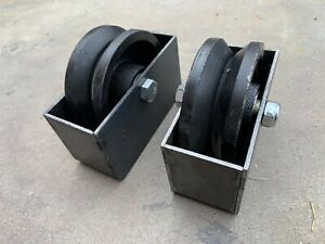 "Two 4"" V-Groove Sliding Gate Wheel"