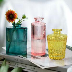Mini Textured Clear Glass Bottle Vase Vintage Stem Bud Flower Vase Centerpiece