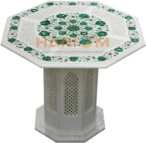 """26"""" Marble Coffee Table Top Malachite Floral Inlay Art Decor With 16"""" Stand W474"""
