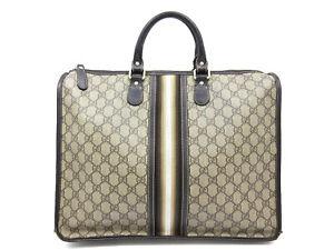 Authentic GUCCI GG Hand Bag 189899 PVC Canvas Leather Baige 97581