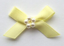 10 RIBBON BOWS WITH BEADS  ( Yelow ).