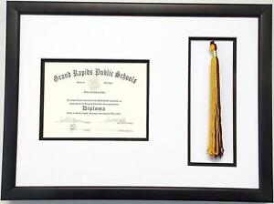 High School Graduation Certificate Frame 6x8 with Tassel Opening (Black)