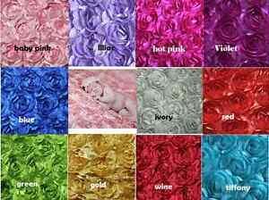 3D Rose Rosette Backdrop Blanket Fabric Satin Baby Newborn Photo Prop