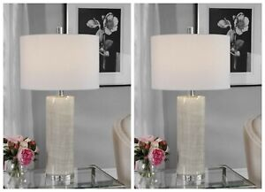 TWO MODERN CERAMIC TABLE LAMP POLISHED NICKEL METAL CRYSTAL BASE UTTERMOST