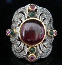 Antique Victorian 925 Silver Cocktail Ring 2.10ct Rose Cut Diamond Ruby Emerald