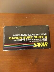 Sakar Telephoto & Wide Angle Zoom Lenses Canon Sure Shot II  Pics w/Box
