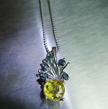 1.35ct Natural Canary yellow Titanite Sphene &sapphire 925 Silver pendant chain