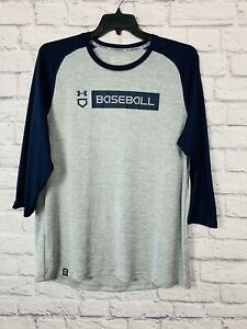 Under Armour Baseball Men's XL Loose Fit Heat Gear 3/4 Sleeve Blue Gray Graphic